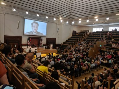 Edward Snowden, live from Russia at ORGCon 2019