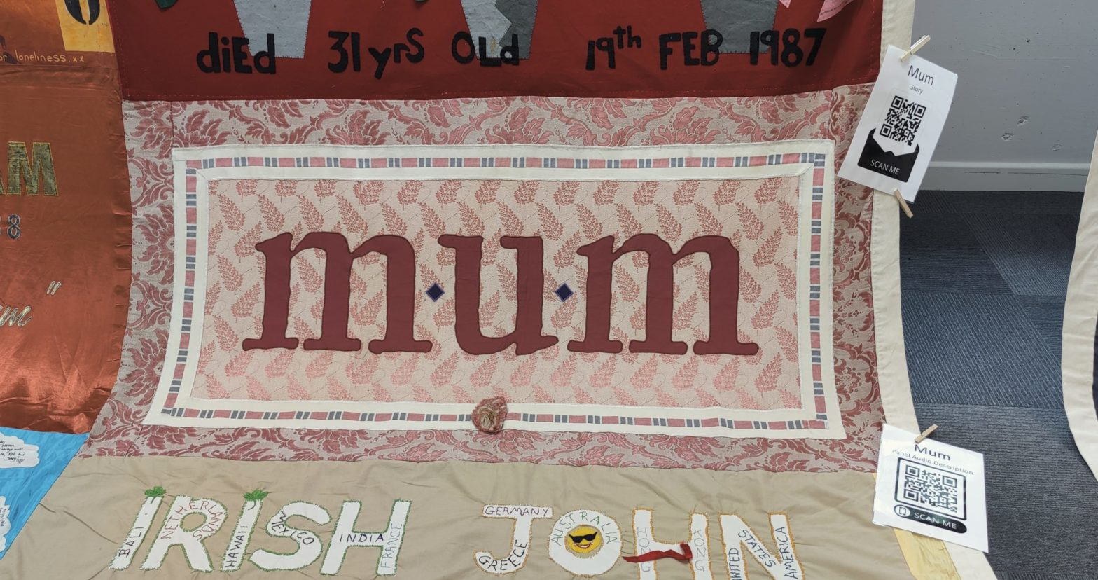 A panel from the UK AIDS quilt that reads 'mum'